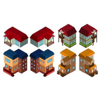 Colección de casas isométricas