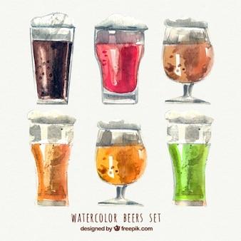 Colección de cervezas en diferentes colores