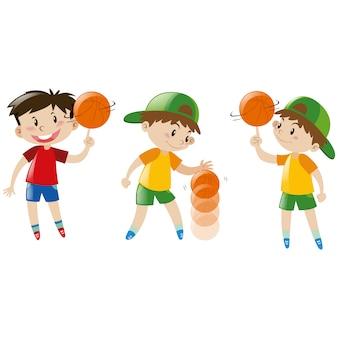 Colección de chicos jugando al baloncesto