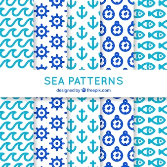 Colección de cinco patrones con elementos marinos
