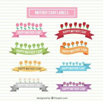 Colección de cintas con flores para el día de la madre