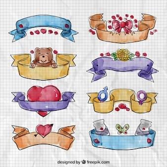 Colección de cintas de san Valentín en acuarela