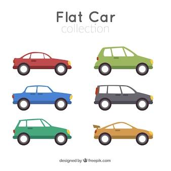 Colección de coches de colores en diseño plano