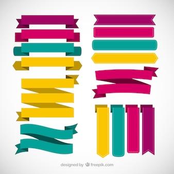 Colección de colores de lazos planos