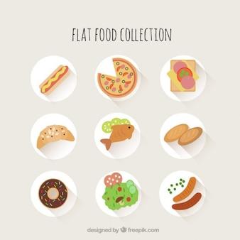 Colección de comida de diseño plano deliciosa