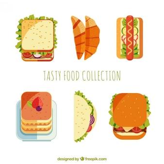 Colección de comida de diseño plano