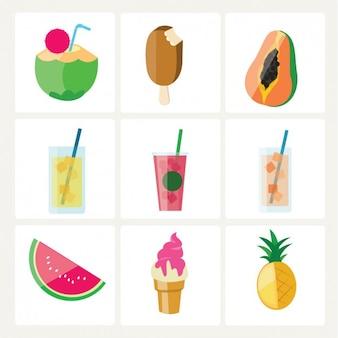 Colección de comida de verano