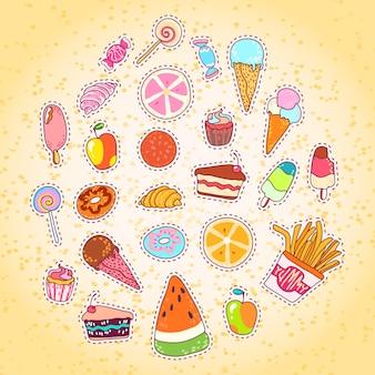 Colección de comida deliciosa