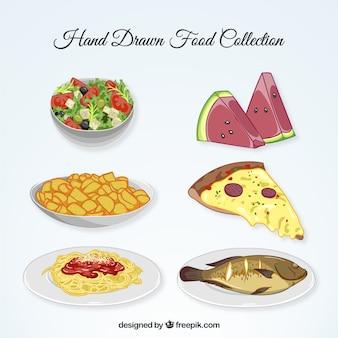 Colección de comida dibujada a mano