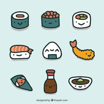 Colección de comida japonesa dibujada a mano