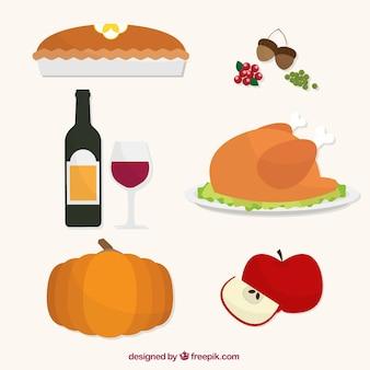 Colección de comida para el día de acción de gracias