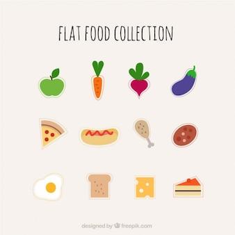 Colección de comida plana