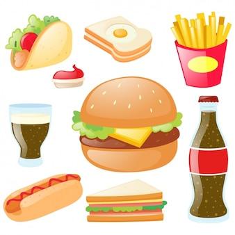 Colección de comida rápida a color