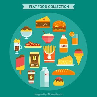 Colección de comida rápida en diseño plano
