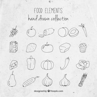 Colección de comida sabrosa dibujada a mano
