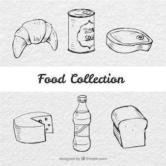 Colección de comida sabrosa esbozada