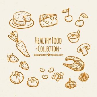 Colección de comida sana dibujada a mano