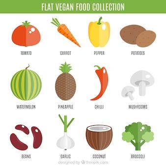 Colección de comida vegana en diseño plano