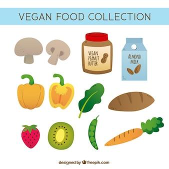 Colección de comida vegana variada