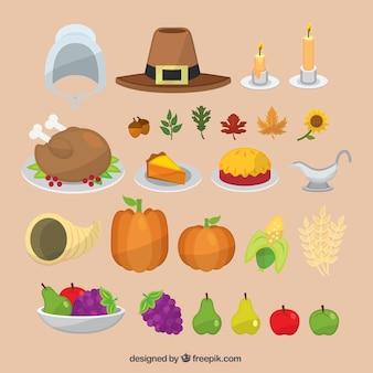 Colección de comida y accesorios tradicionales de acción de gracias