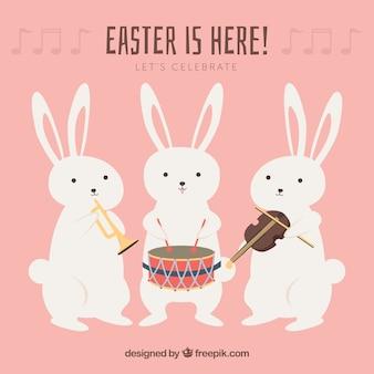 Colección de conejos de pascua con instrumentos musicales