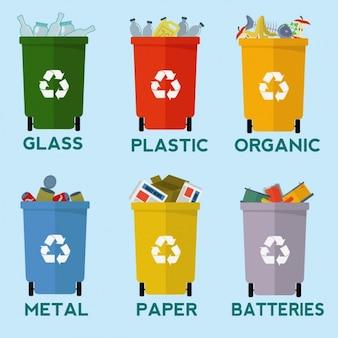Colección de contenedores para reciclar