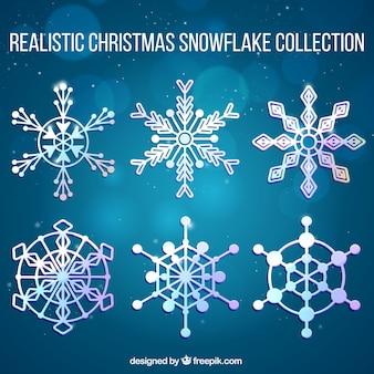 Colección de copos de nieve realistas