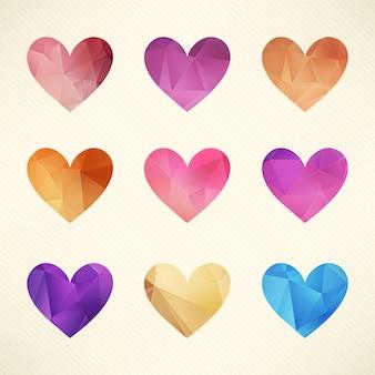 Colección de corazones de diamante