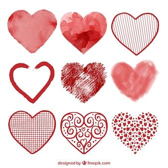 Colección de corazones en acuarela