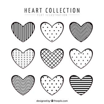 Colección de corazones planos