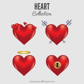 Colección de corazones realistas