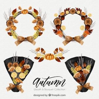 Colección de coronas de hojas