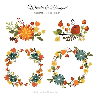 Colección de coronas de otoño