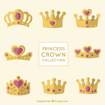 Colección de coronas de princesas con joyas de corazón rojo