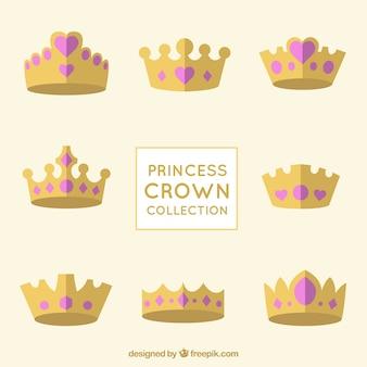 Colección de coronas de princesas con joyas de corazón rosa