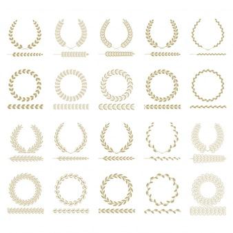Colección de coronas doradas de laurel