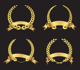 Colección de coronas doradas