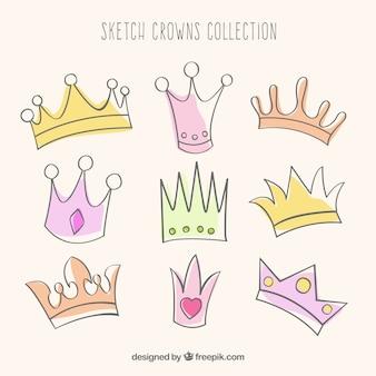 Colección de coronas esbozadas