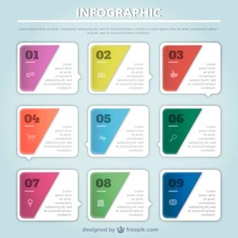 Colección de cuadrados infográficos