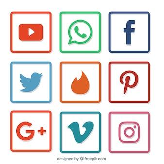 Colección de cuadros de bordes de colores con iconos de redes sociales