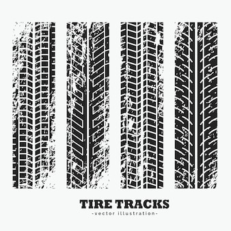 Colección de cuatro huellas de neumáticos