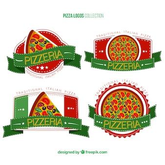 Colección de cuatro logos para pizza