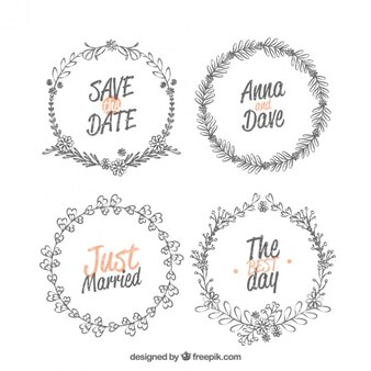 Colección de cuatro marcos de boda decorativos