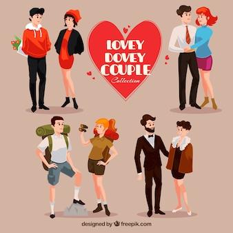Colección de cuatro parejas felices
