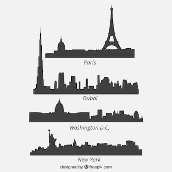 Colección de cuatro siluetas de cuatro paisajes urbanos