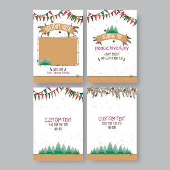 Colección de cuatro tarjetas de felicitación con guirnaldas