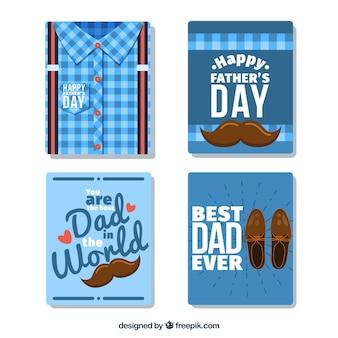 Colección de cuatro tarjetas de felicitación del día del padre
