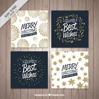 Colección de cuatro tarjetas de navidad