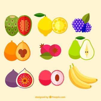 Colección de deliciosa fruta