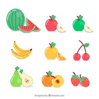 Colección de deliciosas frutas
